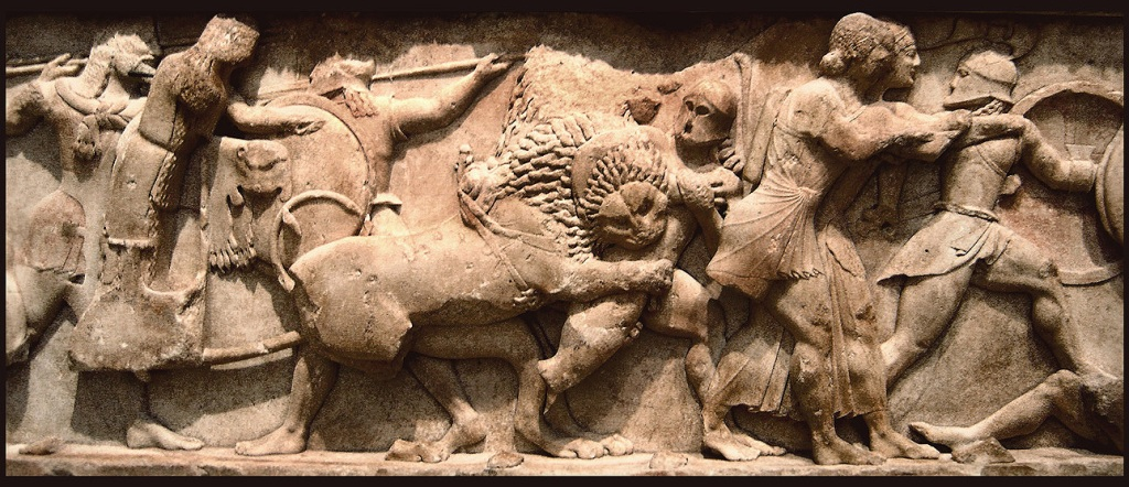 Relief of the Siphnian Treasury, Delphi, depicting a Gigantomachy, c. 525 BC. Delphi Archaeological Museum.