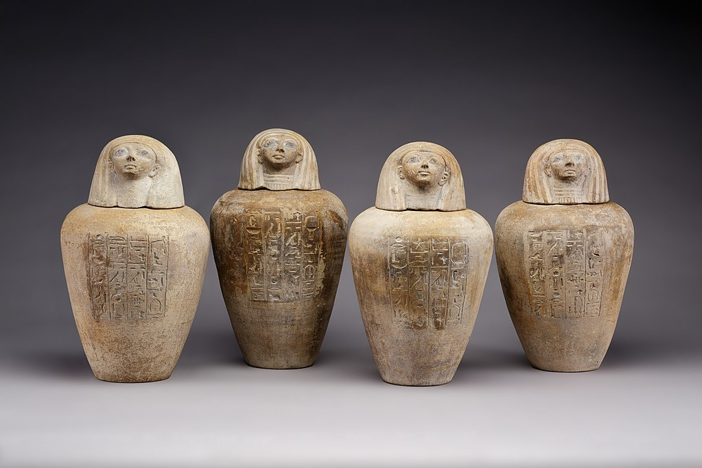 Canopic jars of Ruiu, c. 1504–1447 BC, painted pottery. Metropolitan Museum of Art.