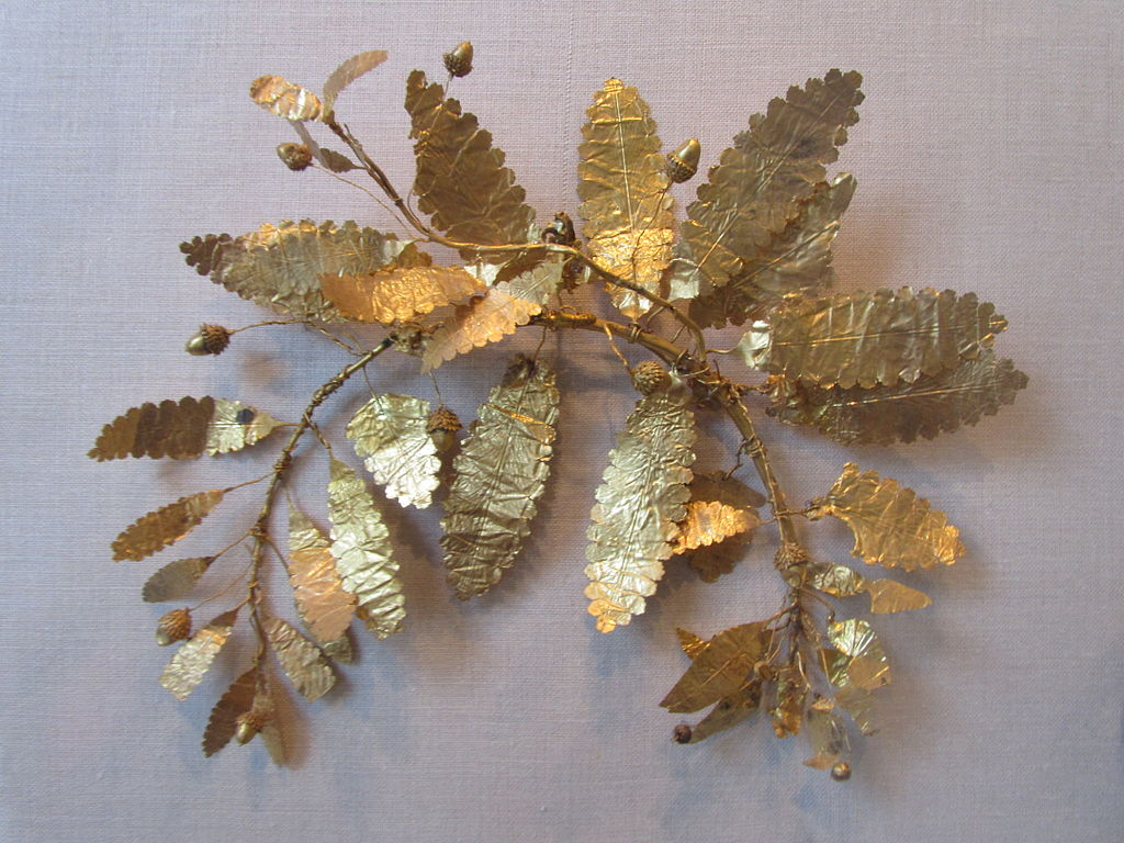 Fragment of a gold wreath, c. 320-300 BC, from a burial in Crimea.