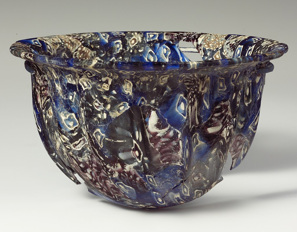 Ribbed bowl of mosaic glass. Metropolitan Museum of Art.