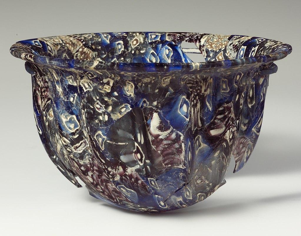 Ribbed bowl of mosaic glass. Metropolitan Museum of Art.