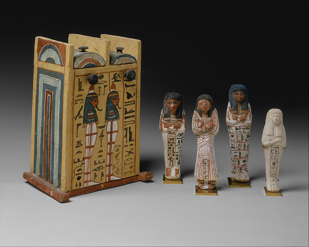 Four ushabtis of Khabekhnet and their box, c. 1279–1213 BC, painted limestone. Metropolitan Museum of Art.