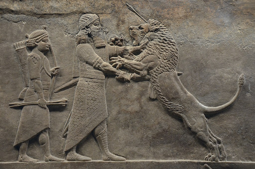 Ashurbanipalkilling a lion.