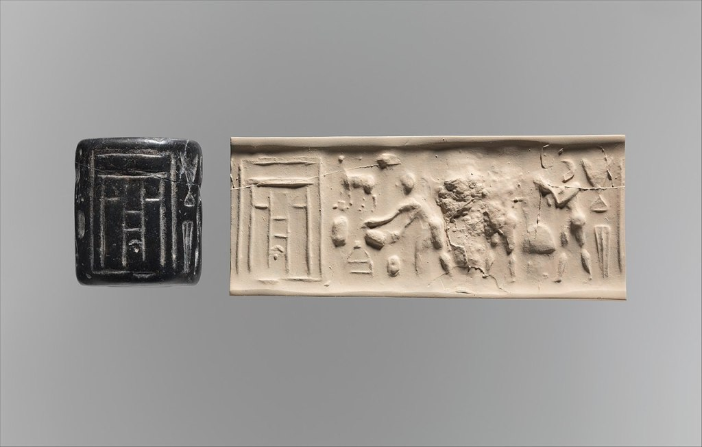 Cylinder seal and impression in which appears a ritual scene before a temple façade; 3500–3100 BC. Metropolitan Museum of Art