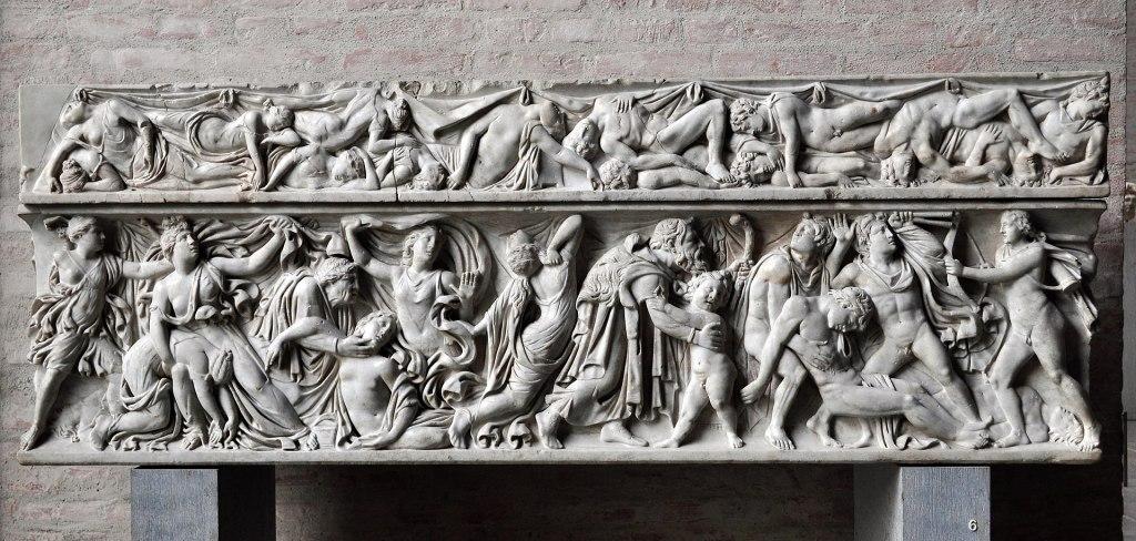 The massacre ofNiobe's children, c 160 AD.Glyptothek.
