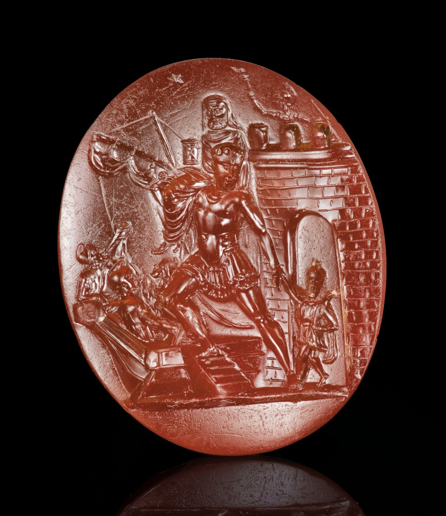 Carnelian intaglio depicting Aeneas' escape from Troy, 1st c. BC.