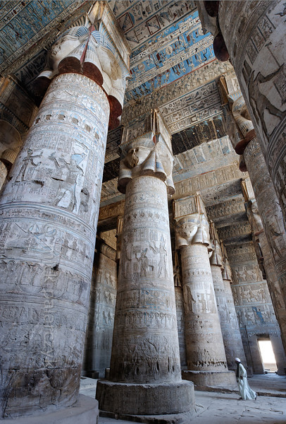 Hypostyle Hall in the Temple of Hathor, Dendera.