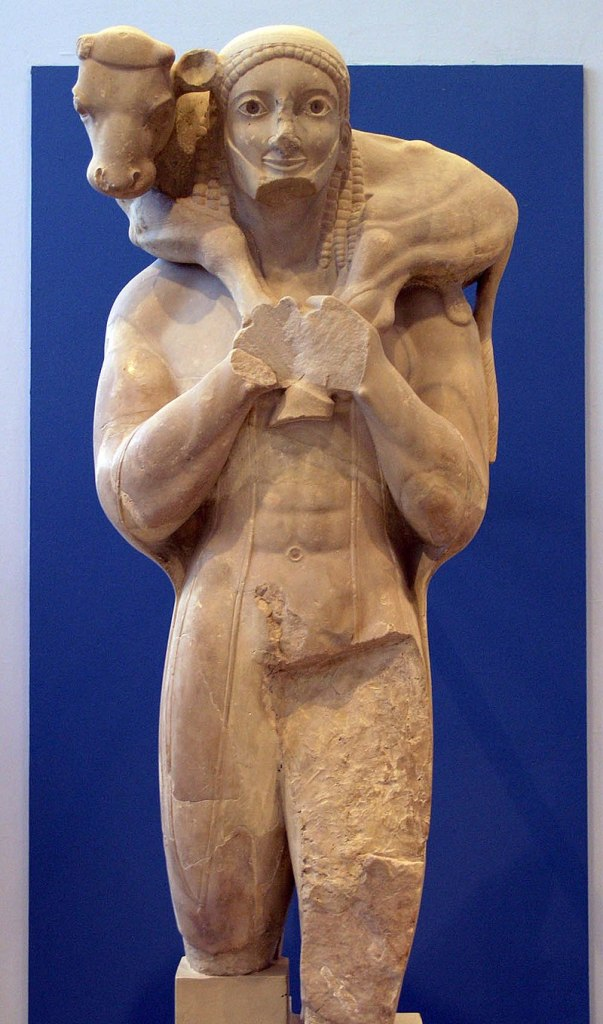The Moschophoros or calf-bearer, c. 570 BC. Acropolis Museum.