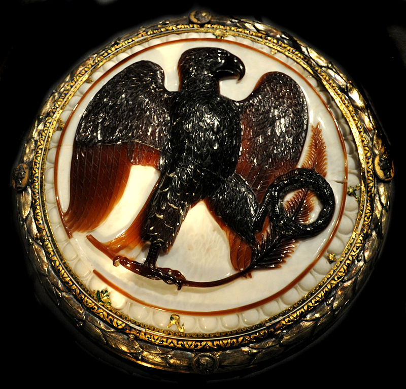 Eagle cameo. Two-layered onyx depicitng an eagle with a laurel wreath, c. 27 BC.
