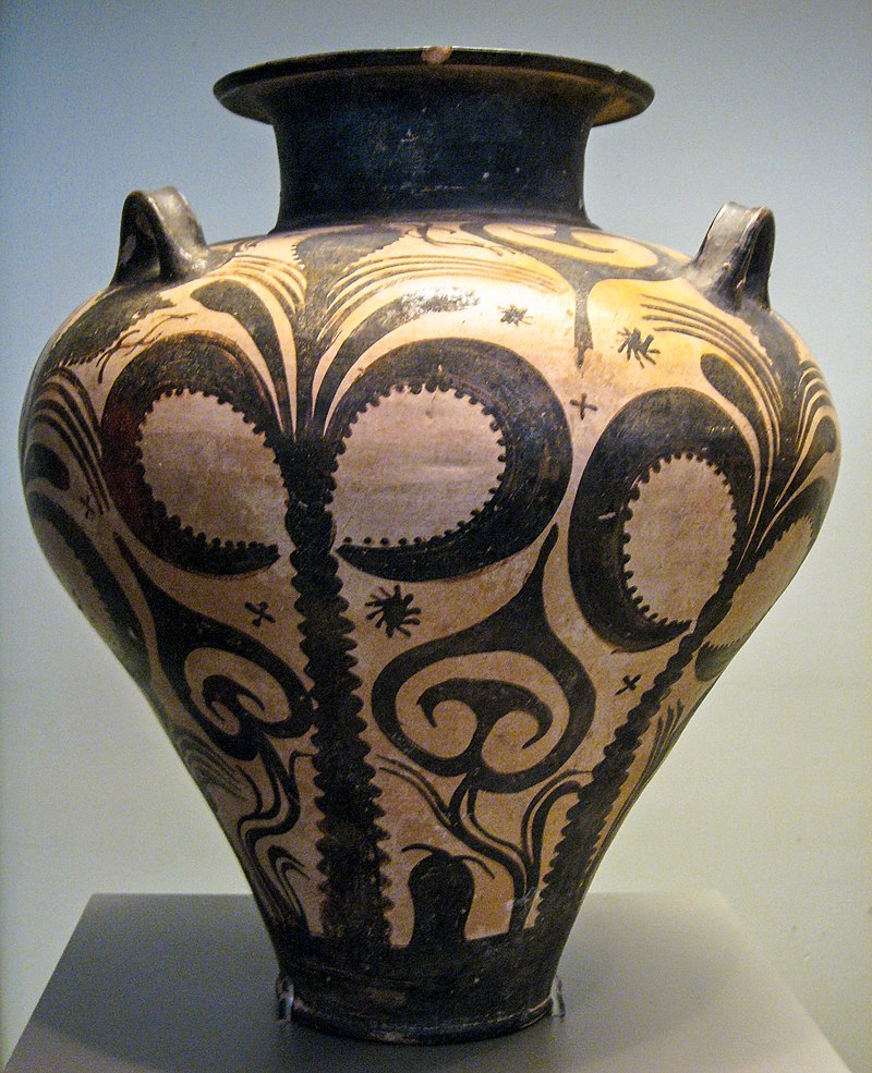 Amphora with Palm Trees, c. 1500 BC. From Mycenaean cemetery at Argive Deiras.