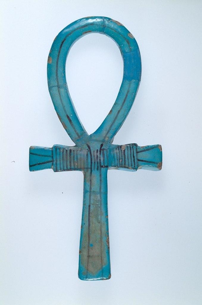 Faience ankh amulet. Metropolitan Museum of Art.