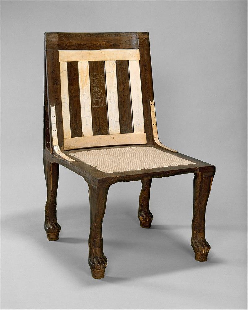 Chair of Reniseneb, c. 1450BC, wood, ebony & ivory. Metropolitan Museum of Art.
