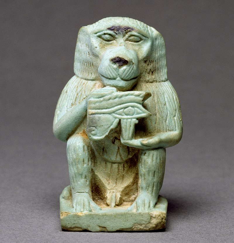Faience amulet that depictsThothas a baboon holding theEye of Horus;, c.664–332BC.Walters Art Museum.
