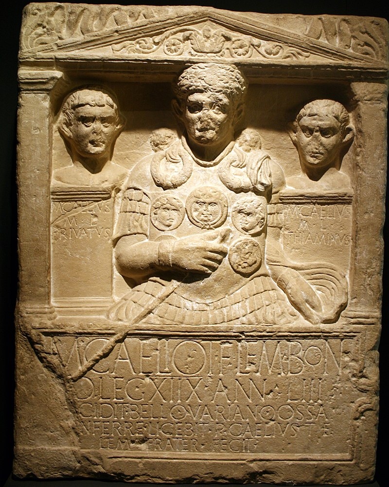 Tombstone of M. Caelius, centurion of the 18th legion, who died in the Teutoburg Forest, 9 AD.