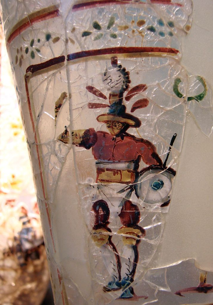 Enamelled glass depicting a gladiator, 1st-2nd c. AD, found at Begram, Afghanistan.