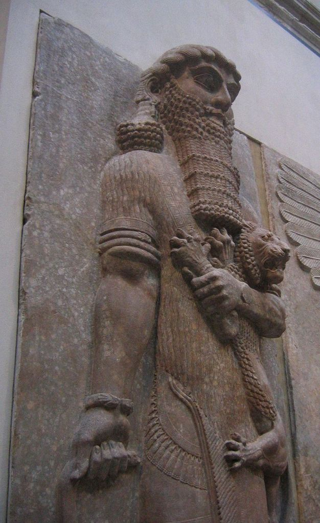 High relief hero clutching lion, from the entrance to the throne room atDur-Sharrukin.