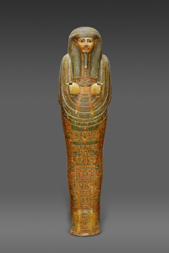 Inner coffin of Amenemopet, c. 975–909 BC, painted wood & gesso; length. Metropolitan Museum of Art.