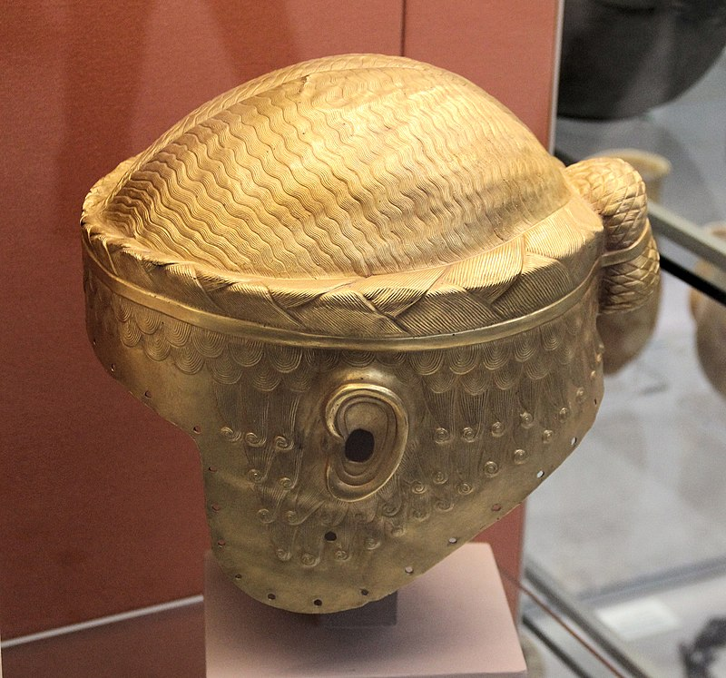 Golden helmet of Meskalamdug (replica), possible founder of the First Dynasty of Ur, 26th c. BC.