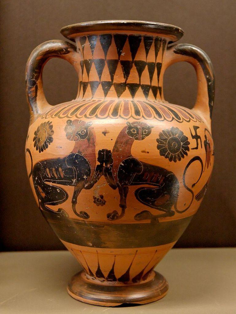 Panthers, black-figure neck-amphora, c. 560-540 BC. Louvre.