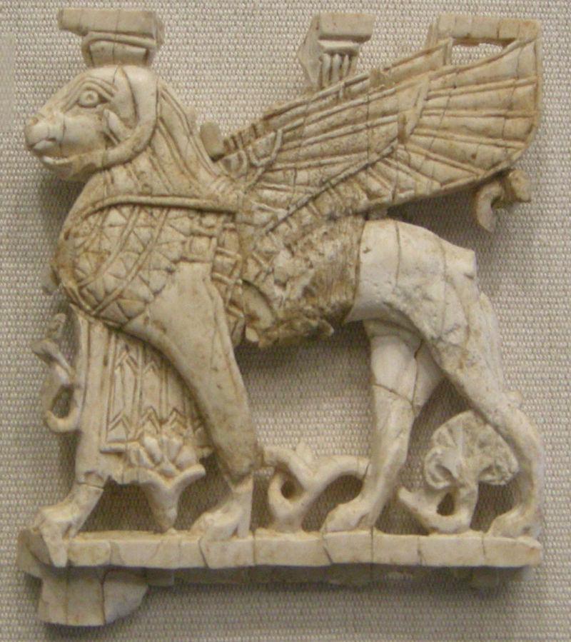 Plaque with ram-headed sphinx.