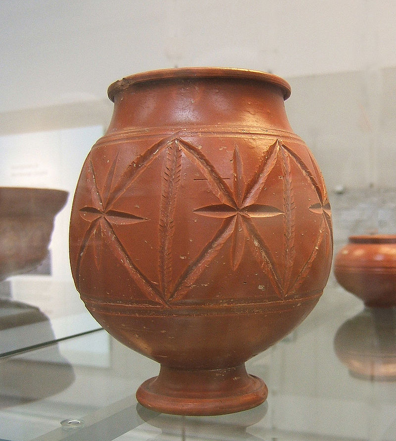 Samian ware with 'cut-glass' decoration.