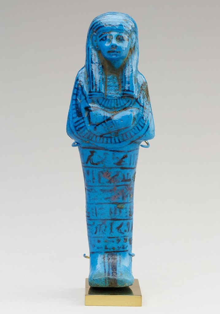 Ushabti of Paser, the vizier of Seti I and Ramesses II, c. 1294–1213 BC, faience. Metropolitan Museum of Art.