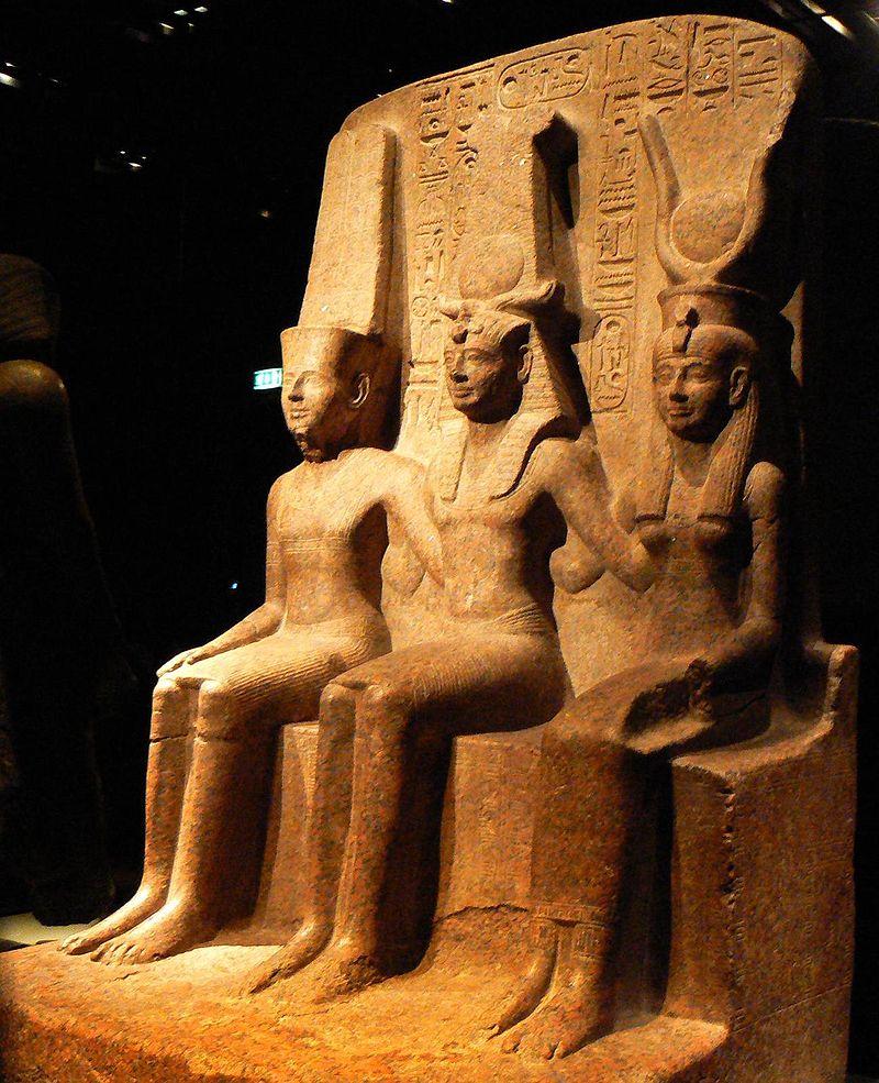 Ramesses II withAmunandMut.Egyptian Museum,Turin.