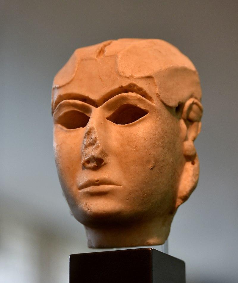 TheMask of Warka, 3300–3000 BC; gypsum alabaster.National Museum of Iraq.