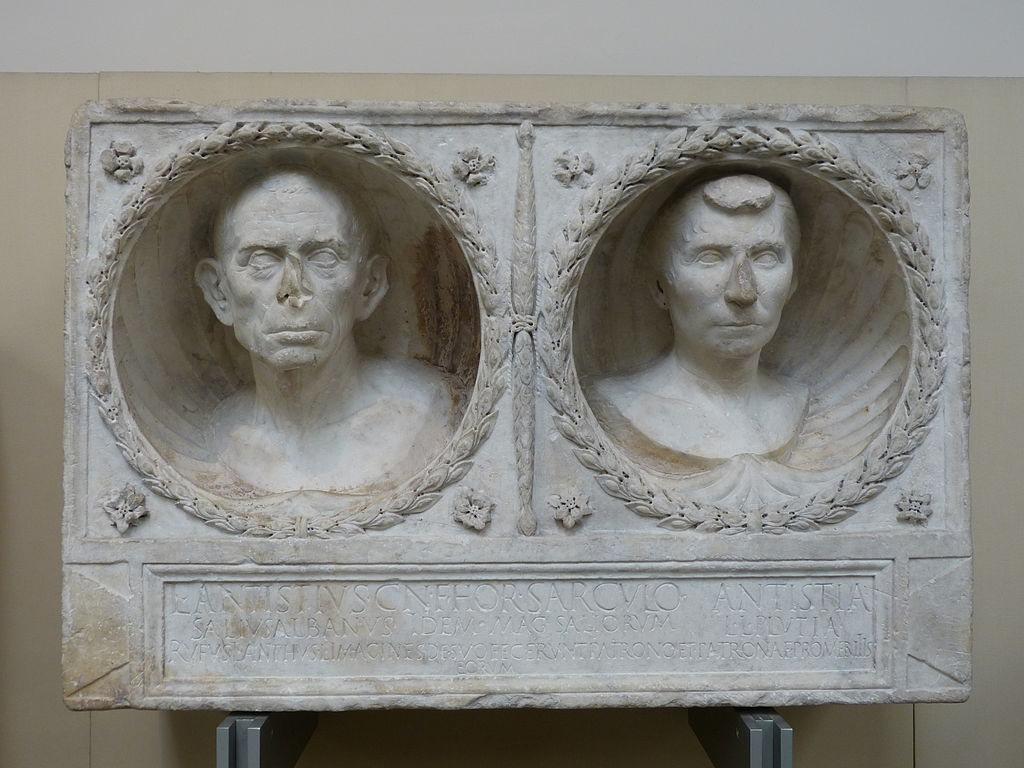 Funerary relief of L. Antistius Sarculo and his wife Antistia Plutia, c. 30–10 BC. Rome.