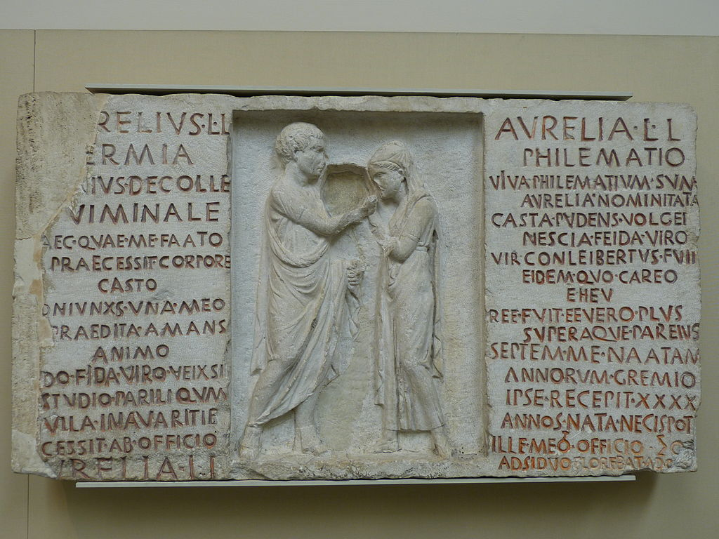 Funerary relief of Aurelius Hermia and his wife Aurelia Philematum, former slaves who married after their manumission, 80 BC, from a tomb along the Via Nomentana in Rome.