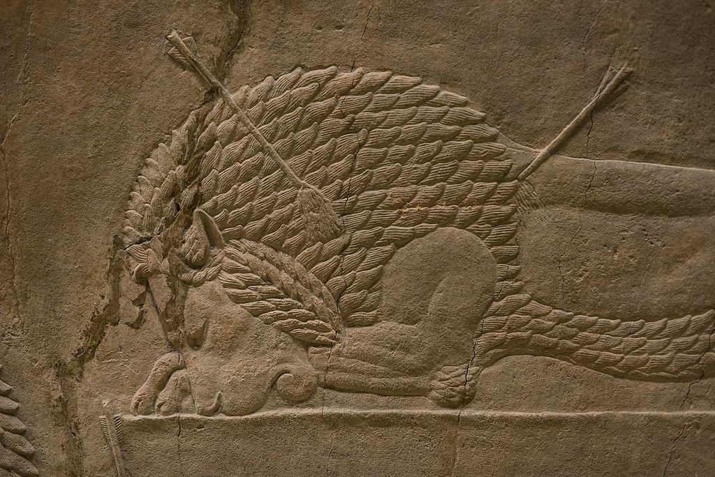 Detail of dead lion.