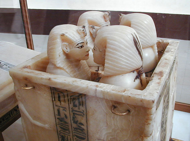 Canopic jars of Tutankhamun, c. 1333–1323 BC, alabaster. Egyptian Museum, Cairo.