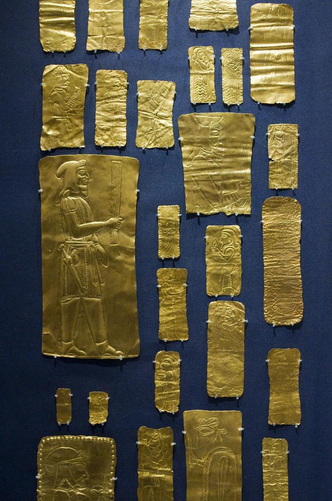 Gold votive plaques.