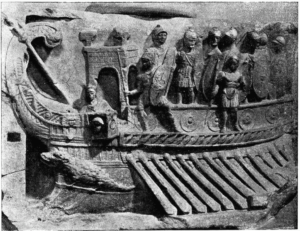 A Roman naval bireme depicted in a relief from the Temple of Fortuna Primigenia, Praeneste. Vatican Museum.