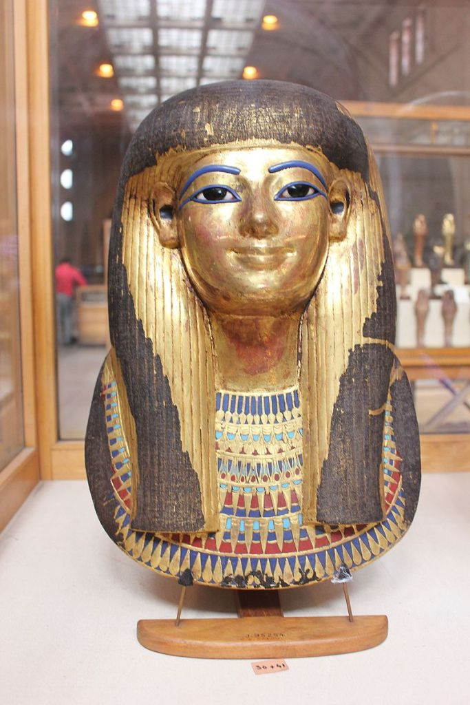 Mask of Tjuyu, c. 1387–1350 BC, gold and alabaster. Egyptian Museum, Cairo.