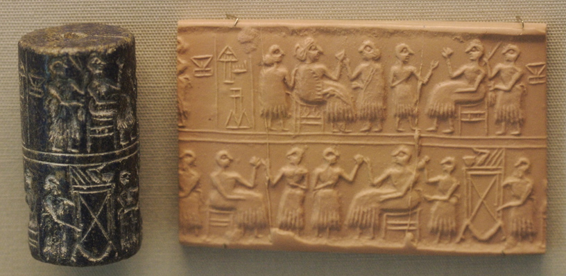 Cylinder seal of Queen Puabi, found in her tomb. British Museum.
