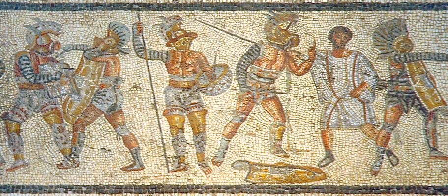 Gladiators from the Zilten mosaic. Tripoli.