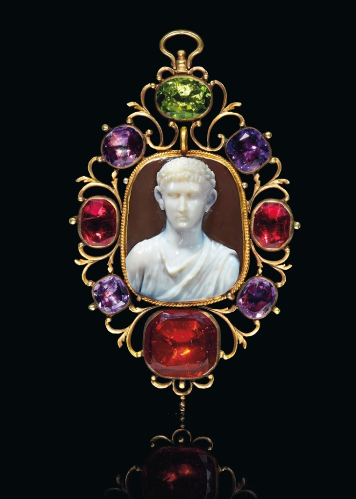 Sardonyx cameo with a draped bust of a Julio-Claudian prince, 1st c. AD.