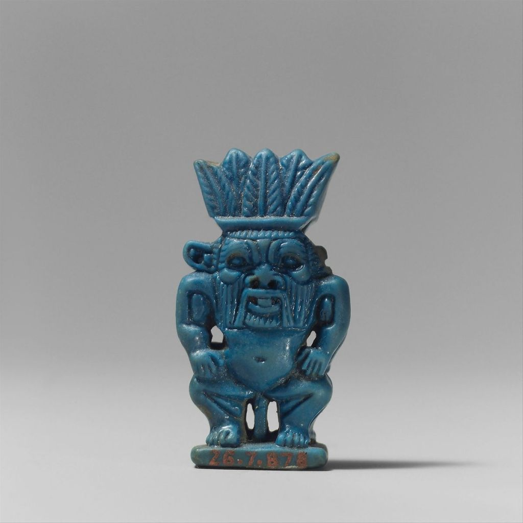 Faience amulet of Bes, c. 1070-712 BC. Metropolitan Museum of Art.