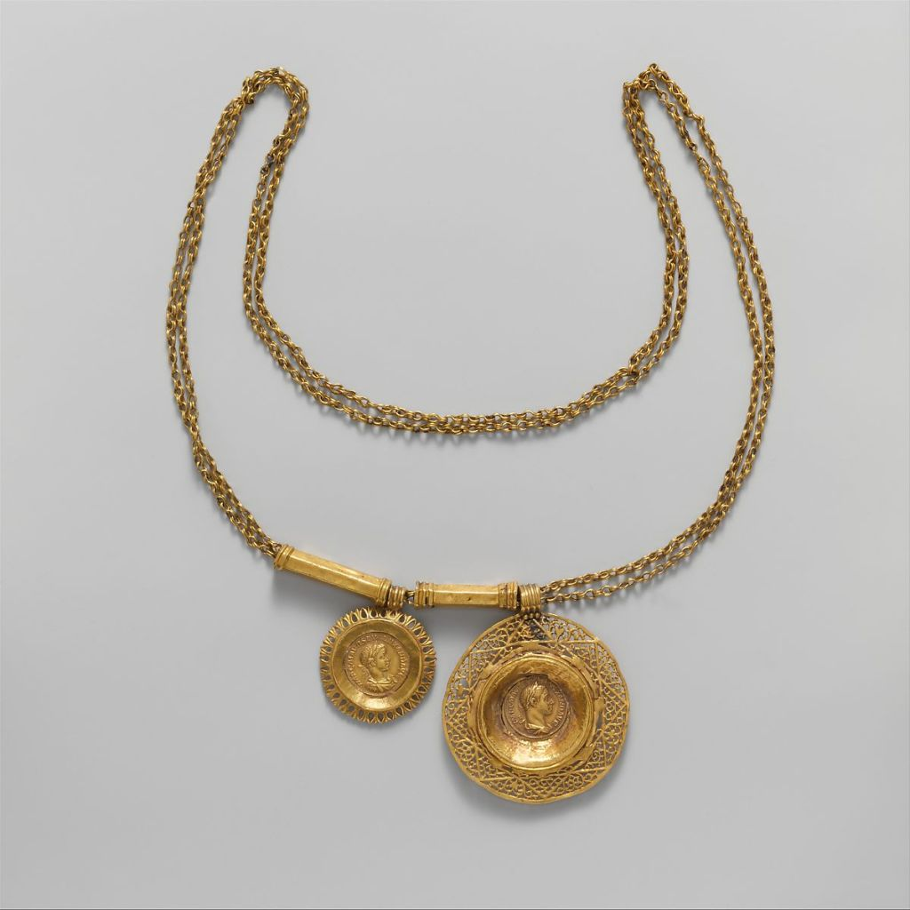 Gold necklace with coin pendants, 3rd c. AD.