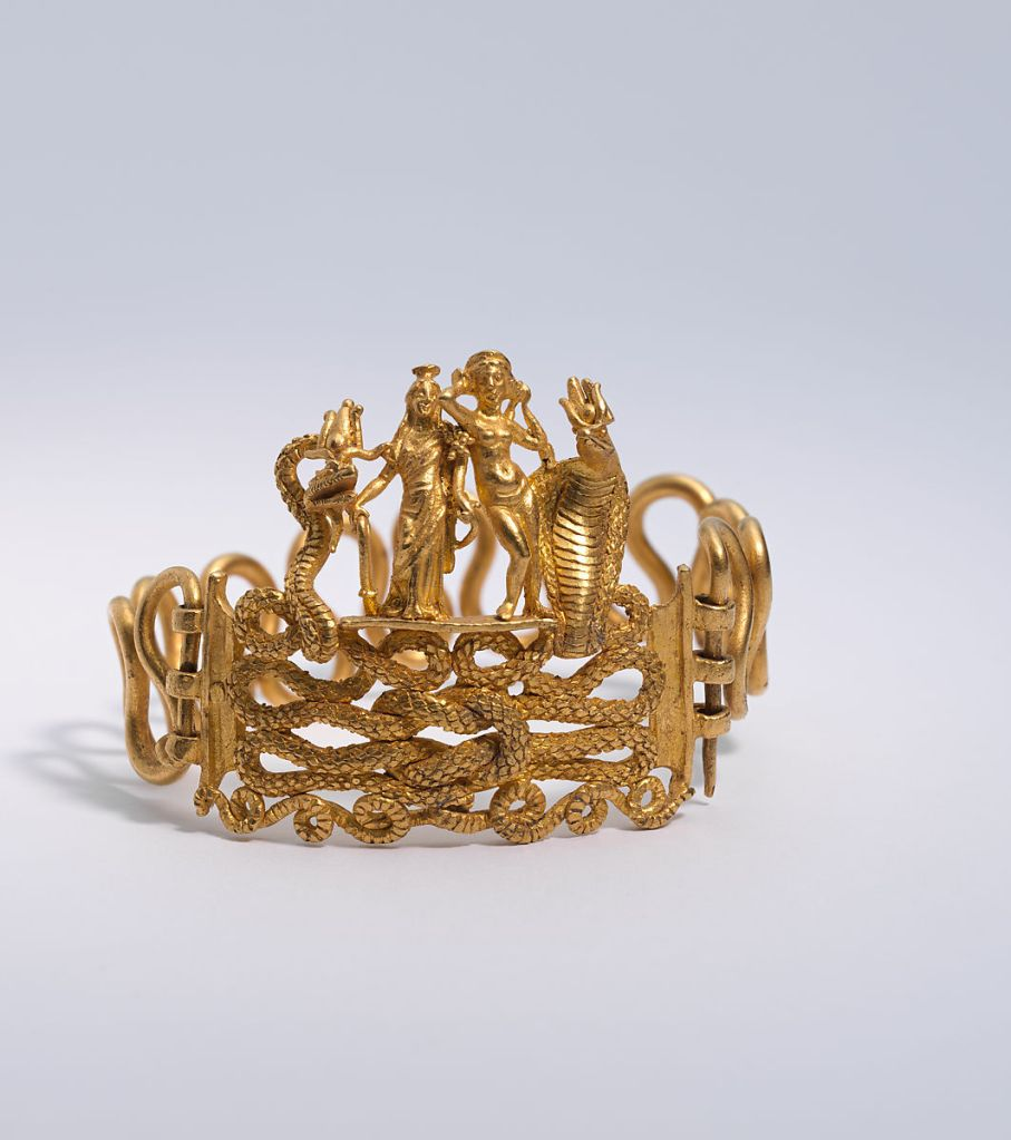 Gold bracelet with Agathodaimon, Isis-Tyche, Aphrodite, and Thermouthis, 1st c. AD.