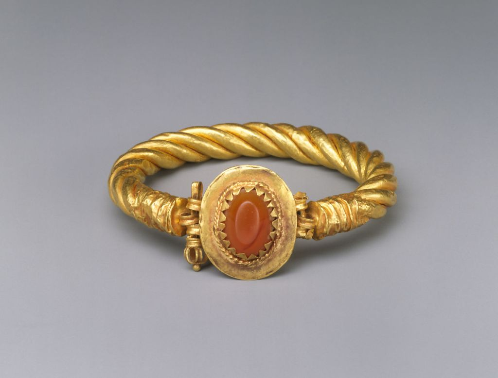 Gold bracelet with carnelian stone, 3rd c. AD.