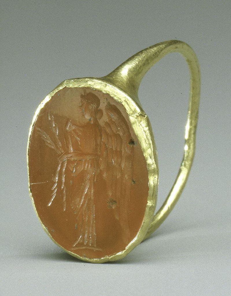 Gold ring with carnelian intaglio of the goddess Nemesis. 1st-3rd c. AD.