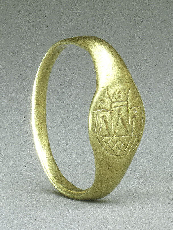 Gold ring with depiction of Venus' temple at Paphos, 1st-2nd c. AD.