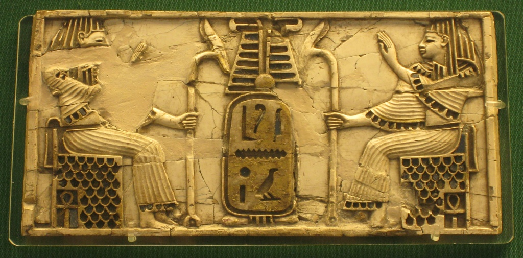 Plaque with Egptian deities and cartouche.