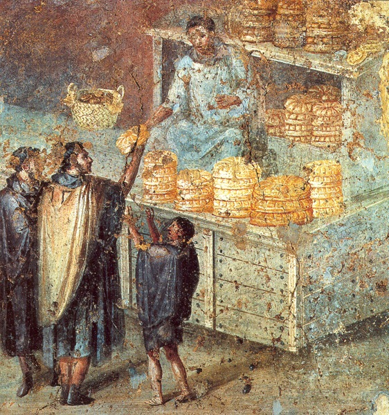 Handing out of bread as part of election campaign. House of Julia Felix, Pompeii.