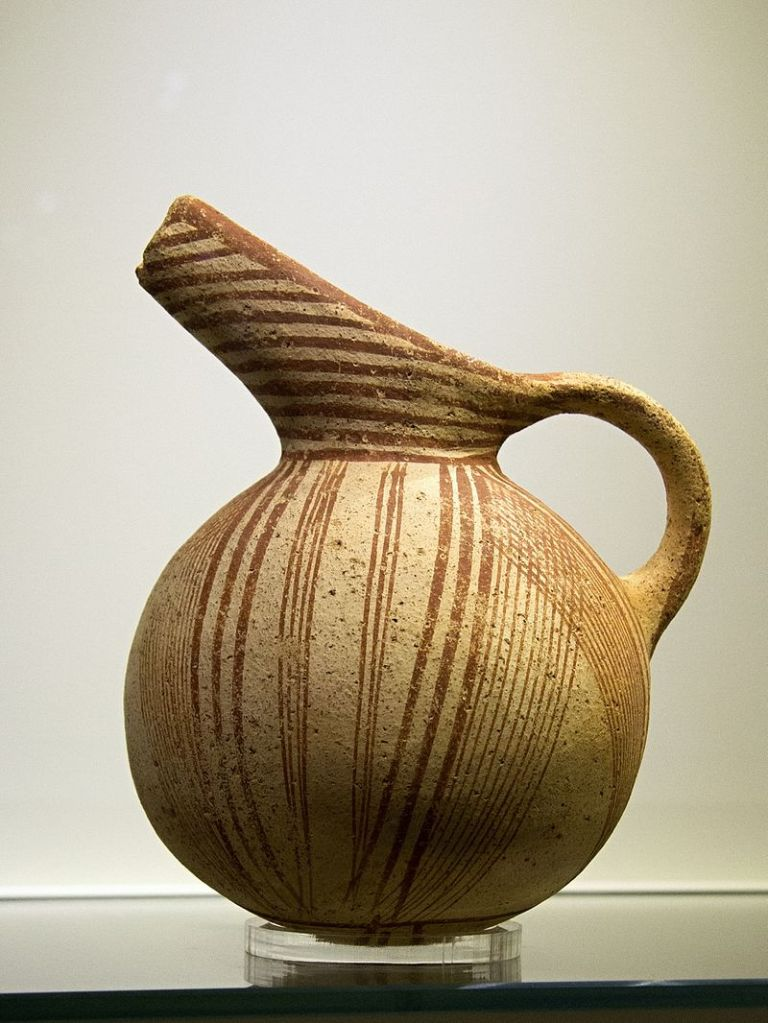 Agios Onouphrios ware with painted parallel-line decoration, 2600-1900 BC.