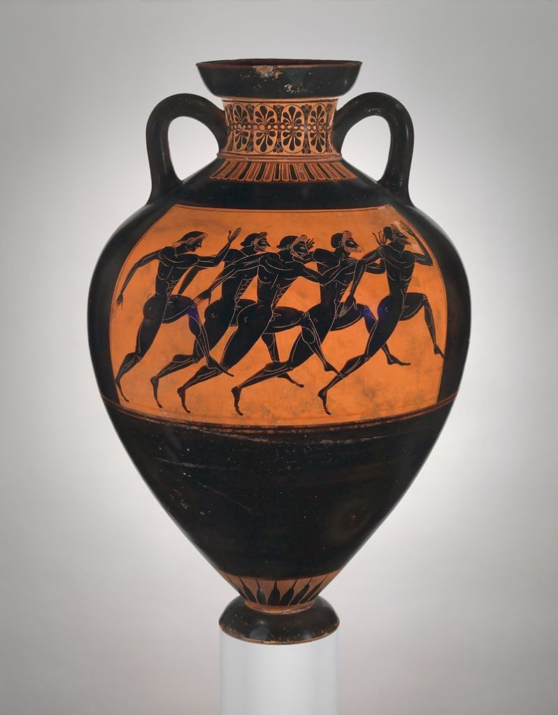 Running ompetition, black-figure Panathenaic prize amphora, c. 480/470 BC.