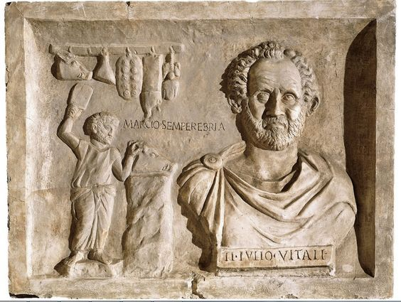 Funerary relief of Ti. Julius Vitalis, who was a butcher.